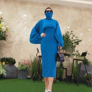 Image 2 - Robe pull deux pièces pour femme, tenue gilet moulante, tricotée, ample, col roulé, haut court et longue fendue, automne et hiver