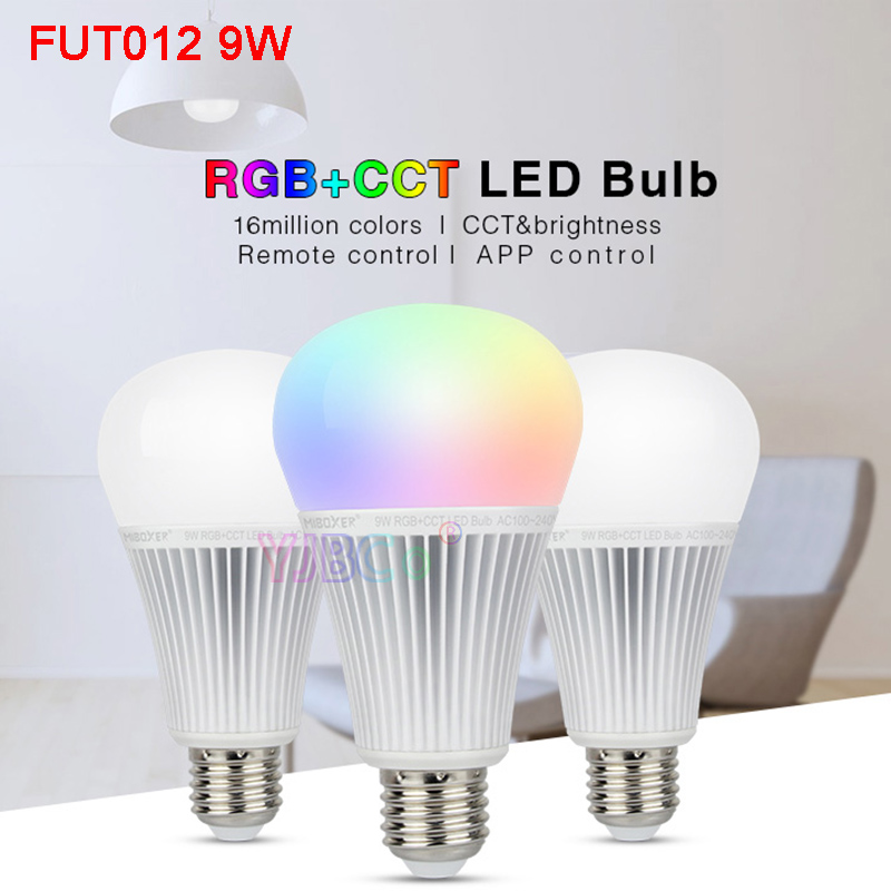 Miboxer 9W RGB+CCT LED Bulb <font><b>FUT012</b></font> E27 light AC100~240V Smart led lamp DMX512 2.4G Remote /APP Control FUTD04 updated to <font><b>FUT012</b></font> image