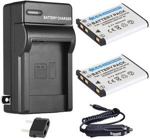 Battery (2-Pack) + Charger For Olympus FE-300, FE-320, FE-340, FE-350, FE-360, FE360, FE-3000, FE-3010, FE3010 Digital Camera