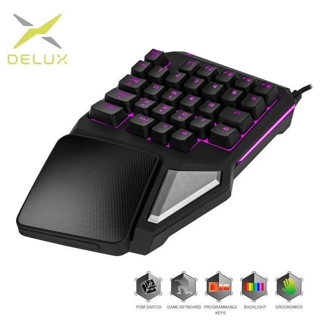 Программируемые клавиши Delux T9 Pro, игровая клавиатура с одной рукой, эргономичная игровая клавиатура для PUBG, пистолета, ПК, ноутбука - Цвет: Only T9 Pro
