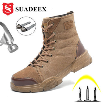 SUADEEX Steel Toe Boots for Men Military Work Boots Indestructible Work Shoes Desert Combat Safety Boots Army Safety Shoes suadeex steel toe boots for men military work boots indestructible work shoes desert combat safety boots army safety shoes