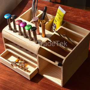 Image 4 - Mutifunctional caja de almacenamiento de madera REPARACIÓN DE Teléfono de Escritorio destornillador soporte para pinzas piezas de teléfono organizador