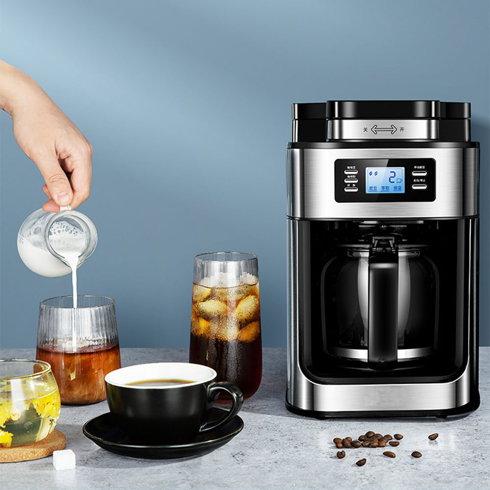 2 In1 Drip Coffee Maker Compatible Ground Coffee Beans  Automatic Stainless Steel Coffee Maker Machine Digital Display Keep Warm 3