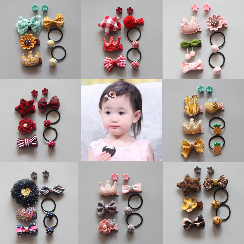 5Pcs/Set Cartoon Baby Hair Clips Elastic Rope Rubber Set Baby Girls Glitter Animal Crown Baby Headband Newborn Hair Accessories