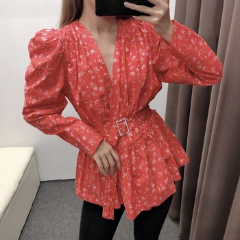 2020 Red Blouse Women Vintage Blouse Puff Sleeve Top Ladies Clothing Sash Blouse Shirt  Women Vetement Femme Autumn blouse 1207041 13