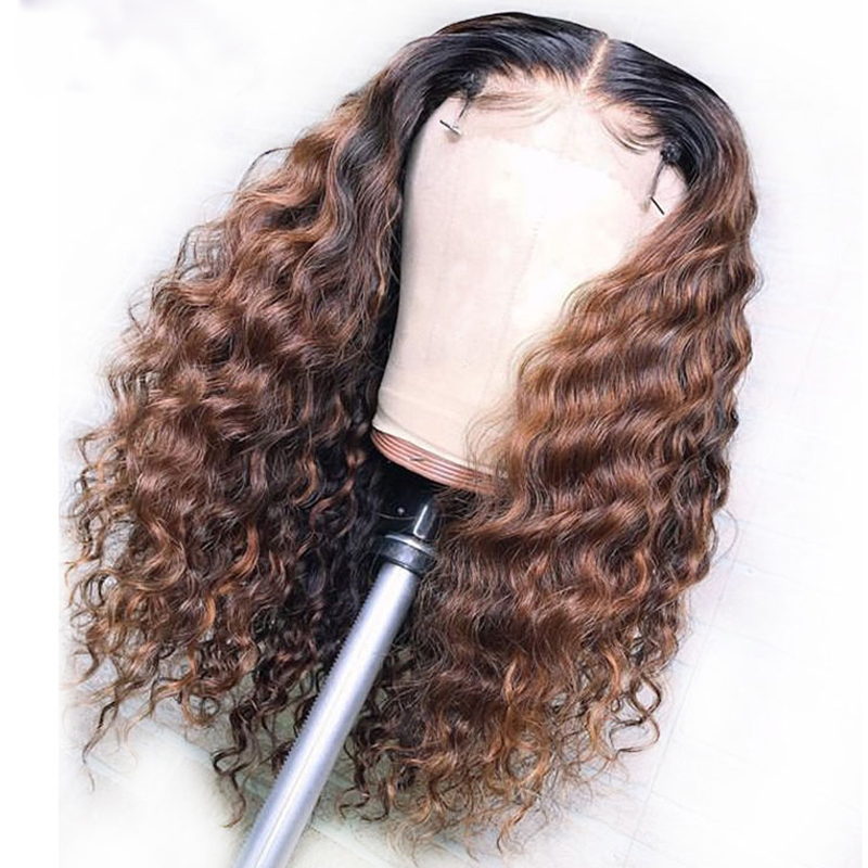 Eversilky 1B/30 Ombre Brown Color13X4 Lace Front Human Hair Wig With Baby Hair Deep Part Curly Brazilian Remy Lace Wig Free Part