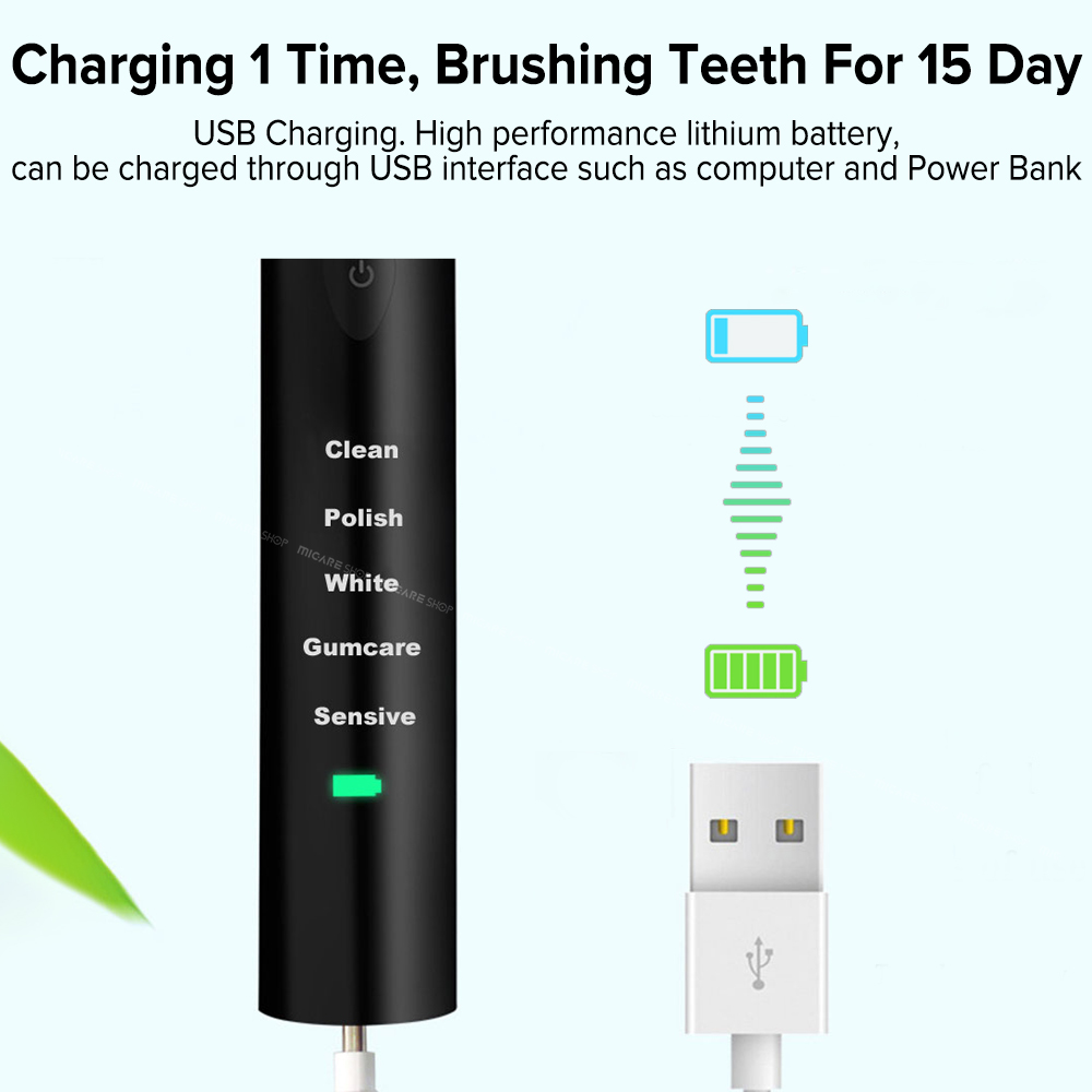 Rechargeable Sonic Electric Toothbrush with 8 Replacement Toothbrush Heads Washable Ultrasonic Whitening Tooth Brush Adult