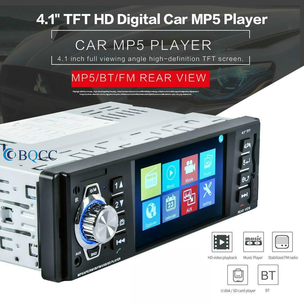 Autoradio MP5 Player 1 Din Car Radio Cassette Auto Tapes Stereo Bluetooth HD USB/SD/FM Screen Mirror Link 4 Inch image
