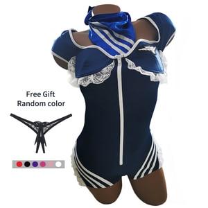 Image 3 - JSY seksi hava hostes üniforma fermuar mavi takım havayolu hostes kostüm kıyafet şapka bodysuit eldiven yaka 9916 içerir