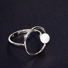 925 Sterling Silver Temperament Geometry Ring Bead Forefinger Fashion Simple Womens Handicraft