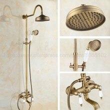 """Античная латунь смеситель для душа и ванной краны стены """" ливень, ванная смеситель для душа набор W/Handshower Ванна Носик zan805"""