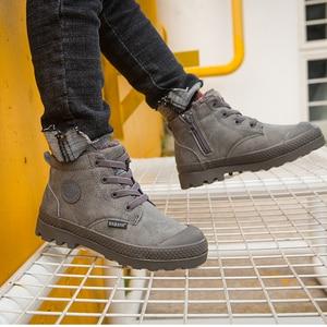 Image 5 - Dziecięce buty chłopięce dziecięce tenisówki wysokie skórzane buty dla chłopca gumowe antypoślizgowe śniegowce koronka up zimowe buty maluch bota