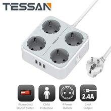 TESSAN Mehrere Steckdosen Power Streifen mit 4 AC Outlets 3 USB Ports, auf/Off Schalter und 1,5 M Verlängerung Kabel Desktop EU Steckdose