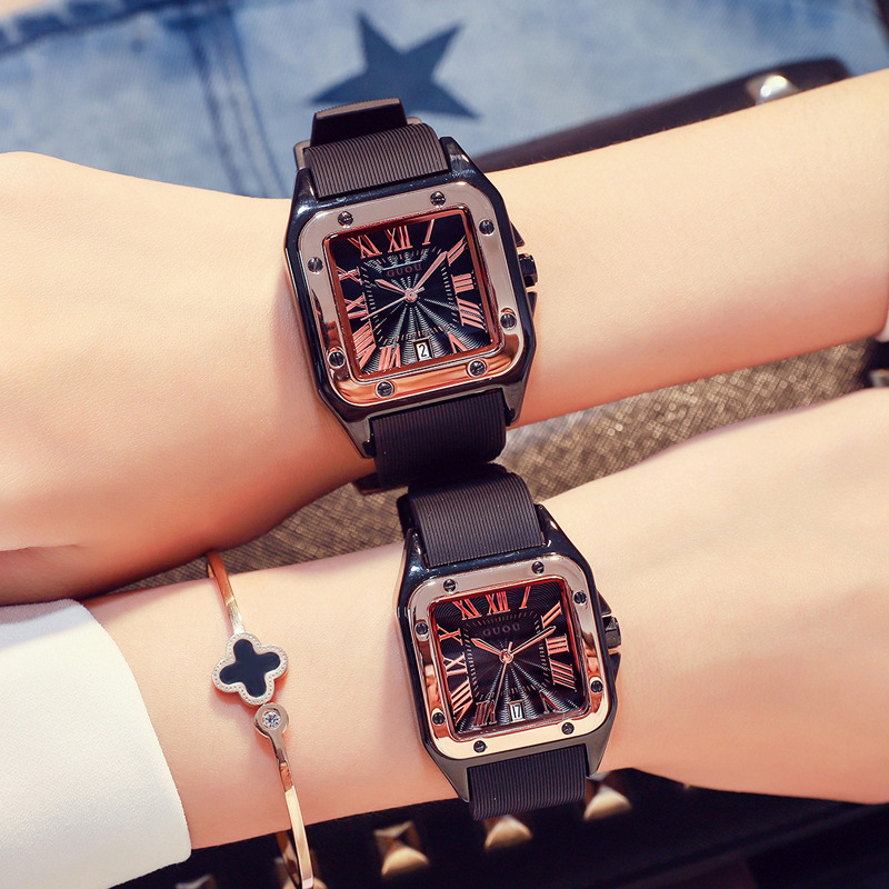 Women Men Square Silicon Watches Couples Sports Wristwatches Rubber Strap Clocks For Lovers Gifts For Women Dropship 2020 New