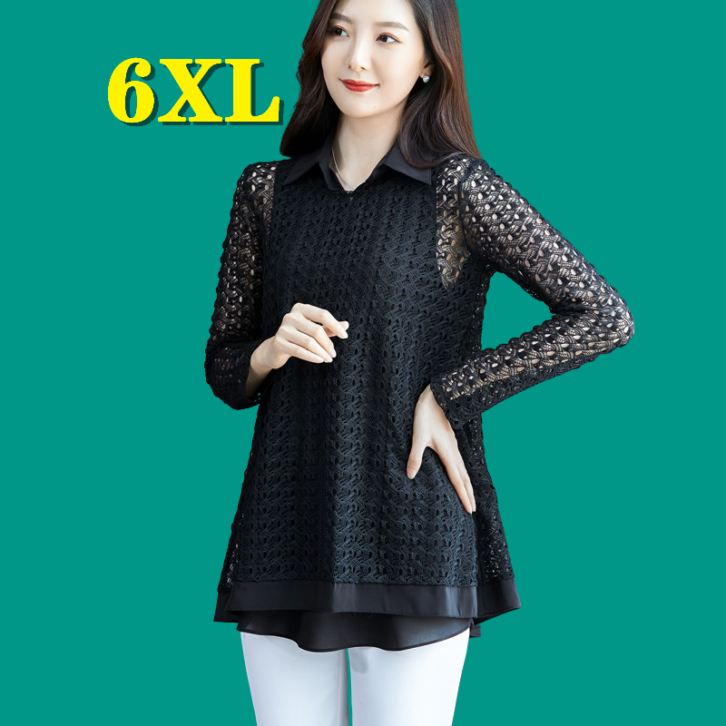 Women Blouse Hollow Out Tunics Black Lace Plus Size T Shirt Spring Tops Sexy Two-Piece Set Tees New Fashiong Blusas Free Ship