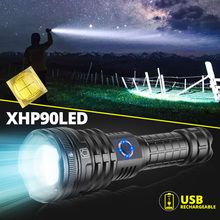 Led Flashlight Battery-Torch Rechargeable-Lamp Powerful Tactical-Zoom Xhp90.2 Super-Bright