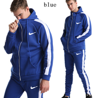 2019 new zipper suit men's sports hoodie sports pants two piece suit stitching white striped clothing jogging sports suit