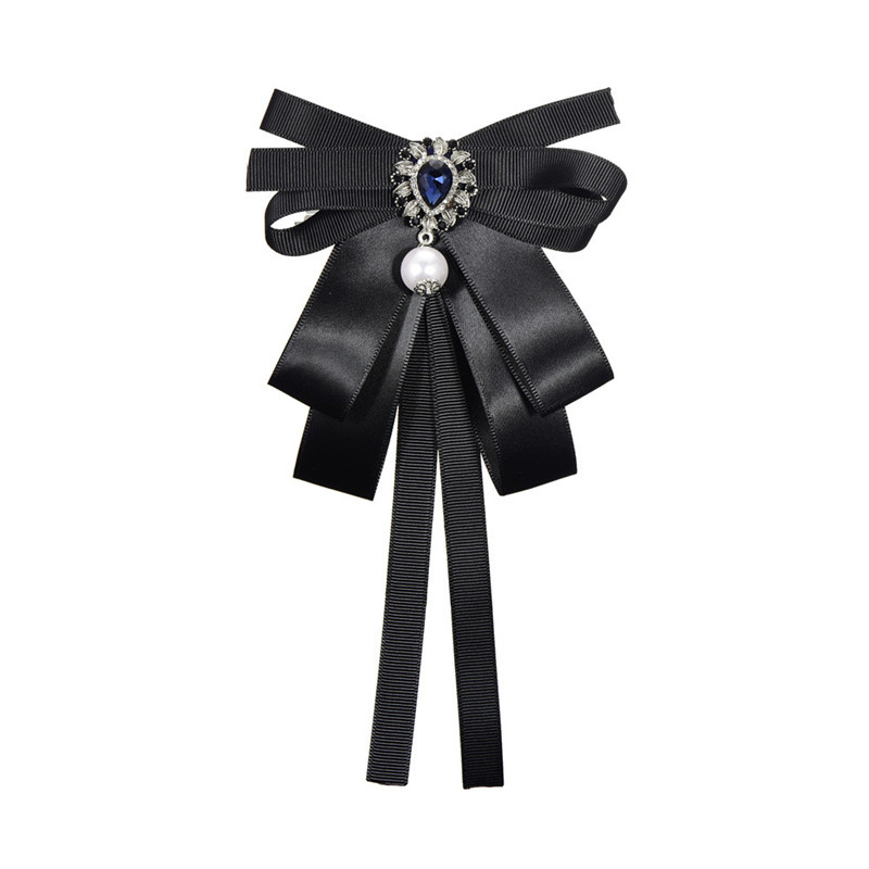 Lady Cloth Art Pearl Bowtie Brooch With Crystal Brooches Ties Collar Flower Fashion Retro Personality Creative Bowknot Corsage