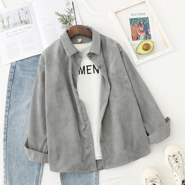 Corduroy Shirts Womens Tops And Blouses Long Sleeve Spring Ladies Solid Loose Boyfriend Style Shirt 3