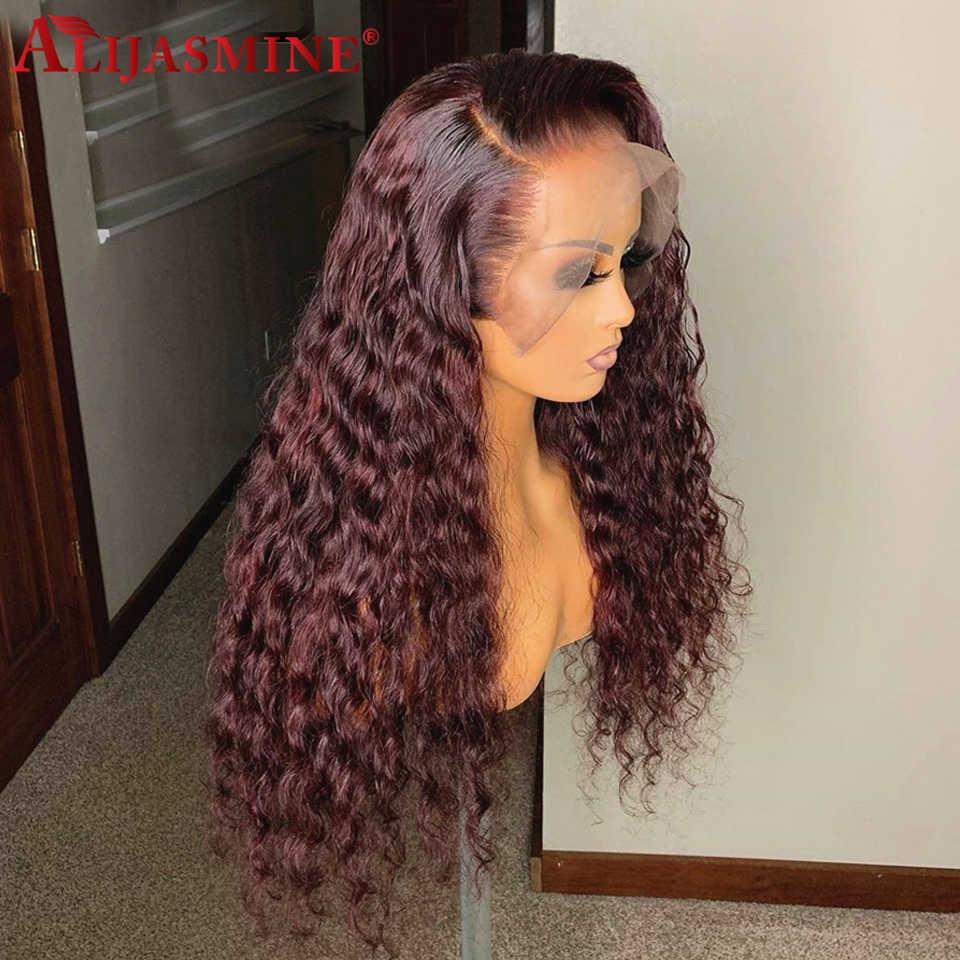 オンブル 1B/99J バーガンディ色の波状 13 × 6 レースフロント人毛ウィッグ 8 「 -24 「ブラジルの Remy 毛のかつら女性 130%