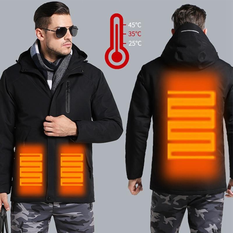 Winter USB Heating Jacket Men and Women Outdoor Hiking Jacket Thick thermal Cotton coat Windproof Waterproof Skiing Windbreaker