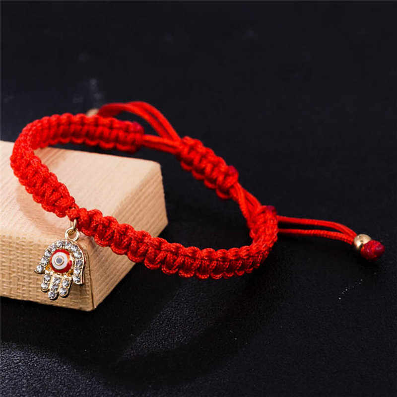 Турецкие ювелирные изделия ручной работы с красной нитью, кристалл, рука Хамса, браслеты с подвесками, приносящие удачу, мирные браслеты, плетеные веревочные браслеты
