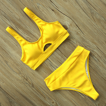 Sexy High Waist Bikini Women Swimsuit New Arrival Swimwear Hollow Out Print Striped Bathing Suit Beachwear Biquini Female 13