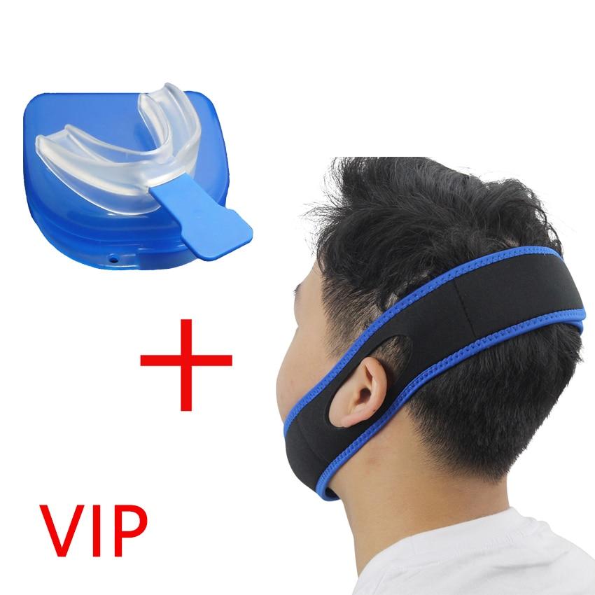 VIP Link - Stop Snoring Mouth Piece Sleep Apnea Night Guard + Anti Snore Chin Strap Belt Jaw Supporter Nasal Strips Set