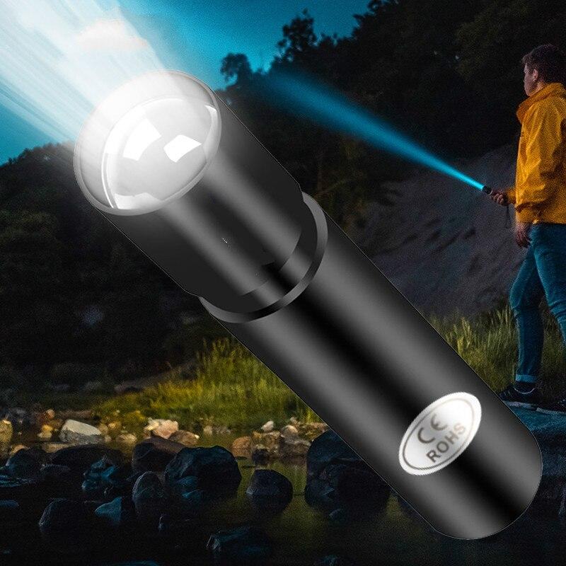 USB şarj edilebilir Mini su geçirmez Torch 3 aydınlatma modu el feneri teleskopik yakınlaştırma taşınabilir gece aydınlatması için