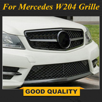 Matte/Gloss Black Car Racing Grille For Mercedes W204 Grill 2008-2014 C300 C180 AMG Emblems Mesh Radiator Front Bumper Modify image