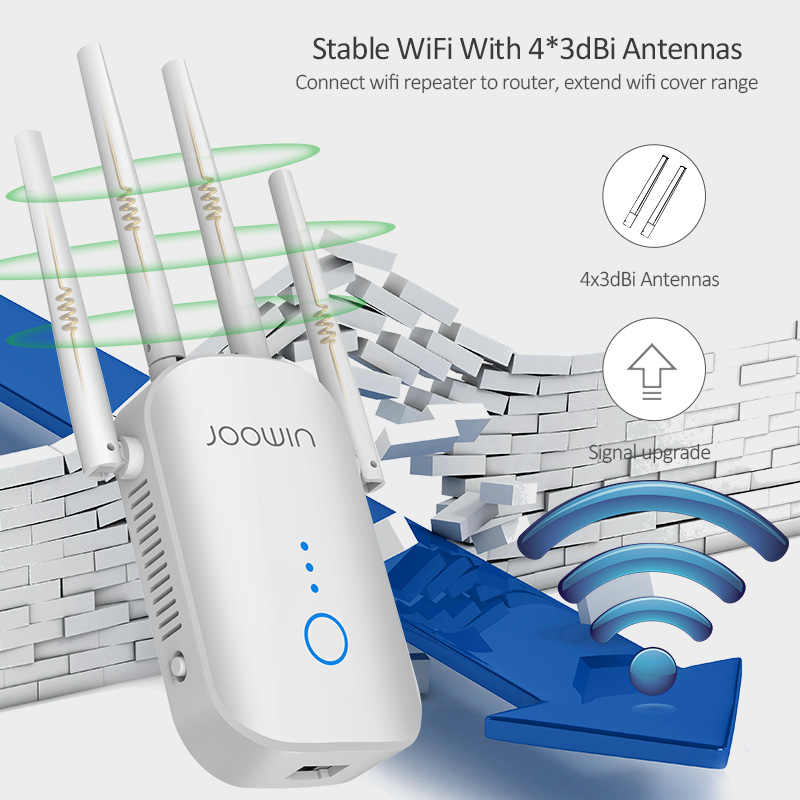 Wireless Signal Repeater Booster 2.4 /& 5GHz Dual Band 4 Antennas 360/° Full Coverage WiFi Range Extender 1200Mbps Extend WiFi Signal to Smart Home /& Alex Devices 1200Mbps, White