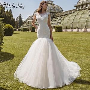 Image 1 - Romantic Scoop Neck Lace Up Mermaid Wedding Dresses 2020 Luxury Cap Sleeve Beaded Appliques Court Train Princess Wedding Gowns