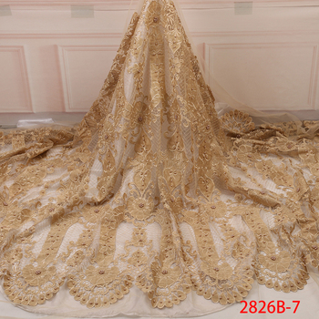 New Beaded Tulle Lace Fabric African 2019 High Quality Lace Nigerian Velvet Laces Fabrics With Beads For Wedding KS2826B-7