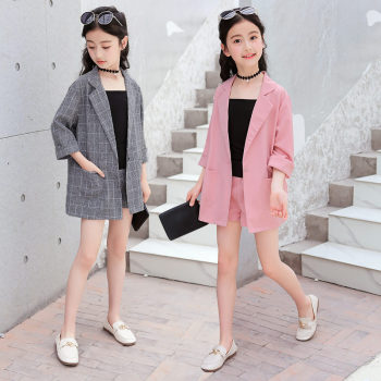 Kids Girls Blazer Jacket + Vest Shorts 3PCS Tuxedos Suit for Children For Wedding Party Pink Grey Color
