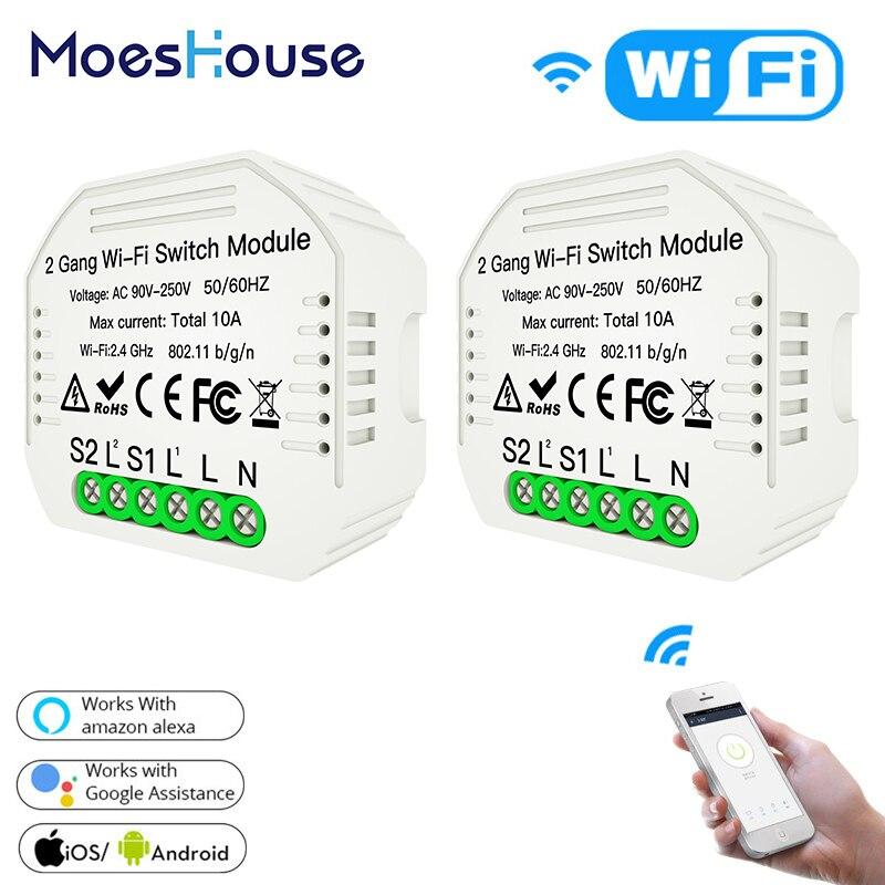 2 Gang 2 Way Wifi Smart Light Switch Diy Breaker Module Smart Life/Tuya APP Remote Control,Working With Alexa Echo Google Home