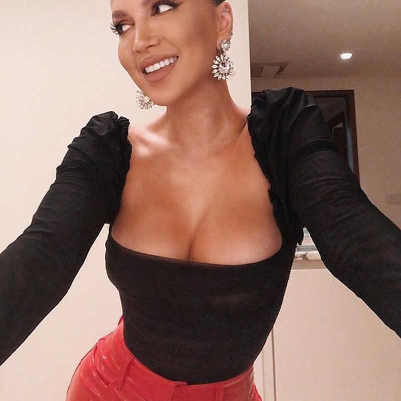 JULISSA MO negro doble capa de red Sexy traje mujeres tops otoño manga larga nueva Mediados de cintura monos señoras Bodycon mono