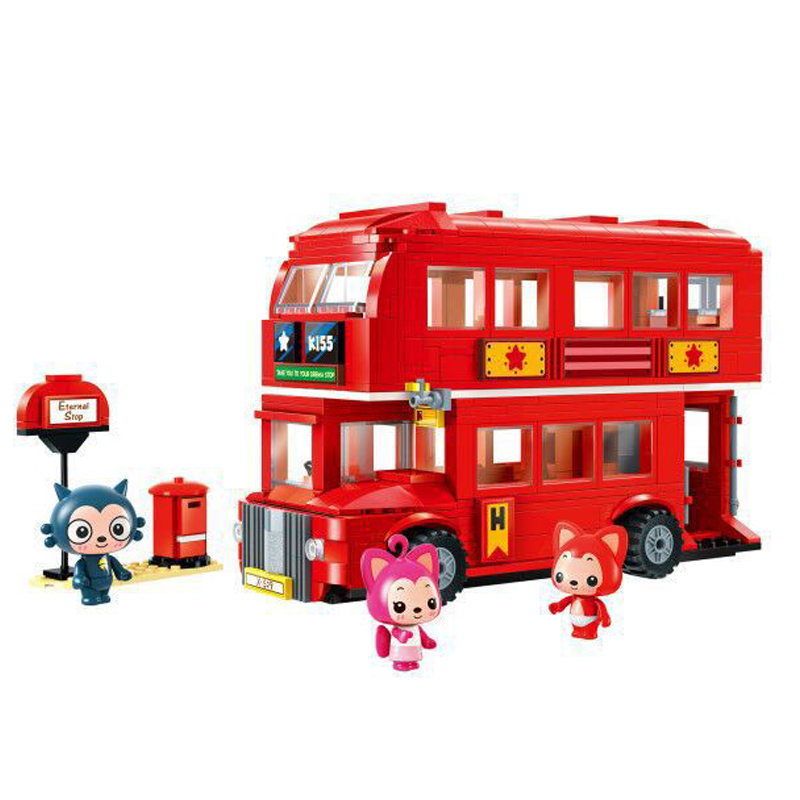 606pcs Educational Building Blocks Toy Compatible With Legoingly City Series Double-decker Red Bus Friends Bricks for Children