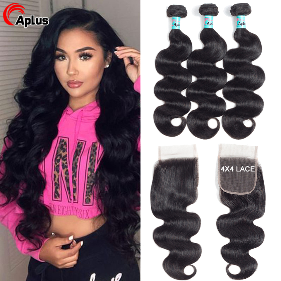 Body Wave Transparent Lace Closure Brazilian Hair Weave 3 Bundles With Lace Closure Free Part 100% Human Hair Extension Bundles