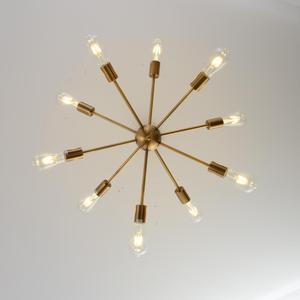 Image 4 - スプートニクシャンデリア真鍮現代ペンダントランプアンティークゴールド産業階段照明器具10腕起毛ニッケル黒チューブ