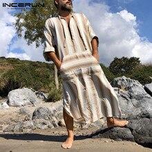 Robe-Pockets Kaftan Thobe Arabic Islamic Muslim Jubba Incerun Men Dubai Middle-East Lace-Up