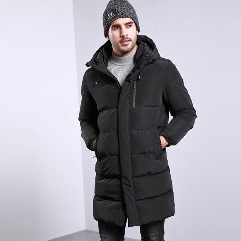 Новинка 2019, мужское хлопковое пальто, Мужская зимняя длинная куртка с капюшоном, свободная повседневная Толстая черная куртка, больше разме... - 4
