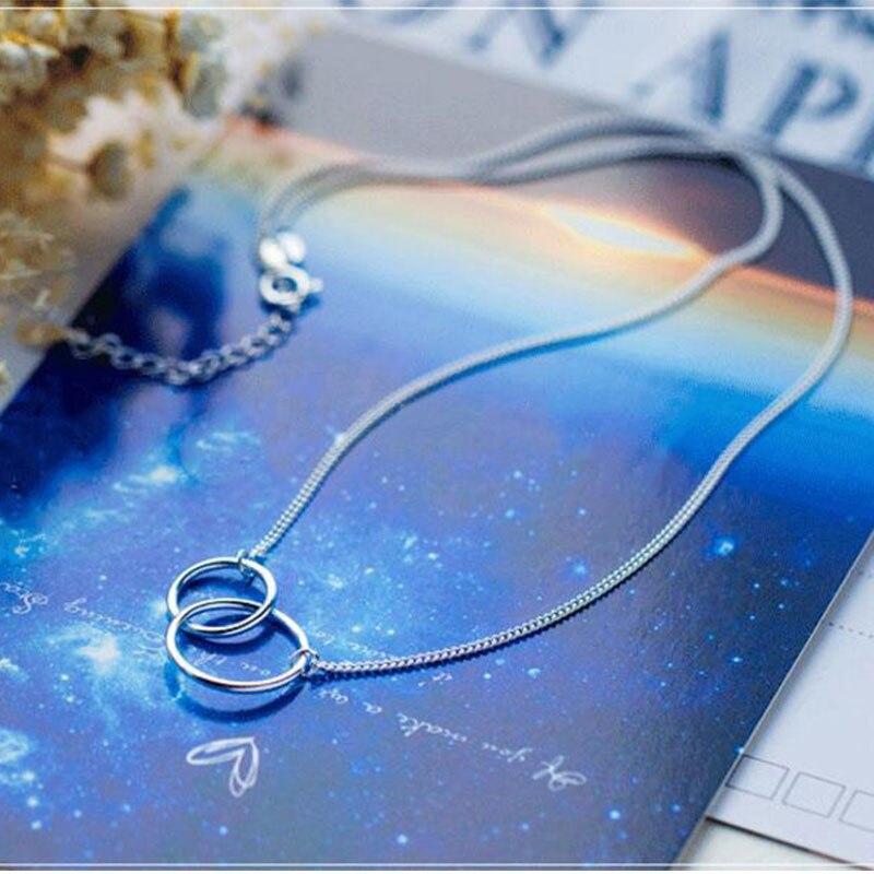 ANENJERY, минималистичное 925 пробы Серебряное двойное ожерелье+ браслет, ювелирные наборы для женщин, ювелирные изделия для сестры