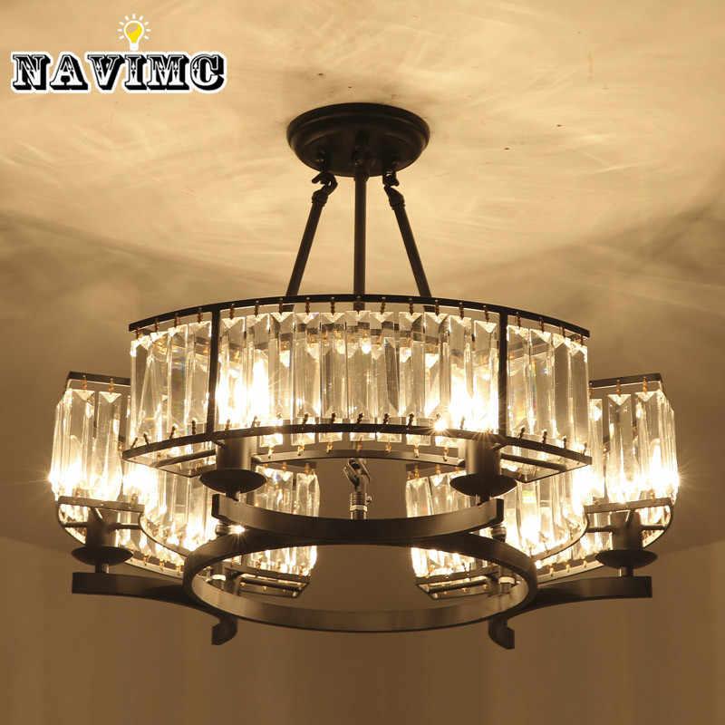 Винтажный стиль лофт хрустальный светильник бронзовая черная люстра лампа абажур лампы для гостиной E14 Светодиодная лампа