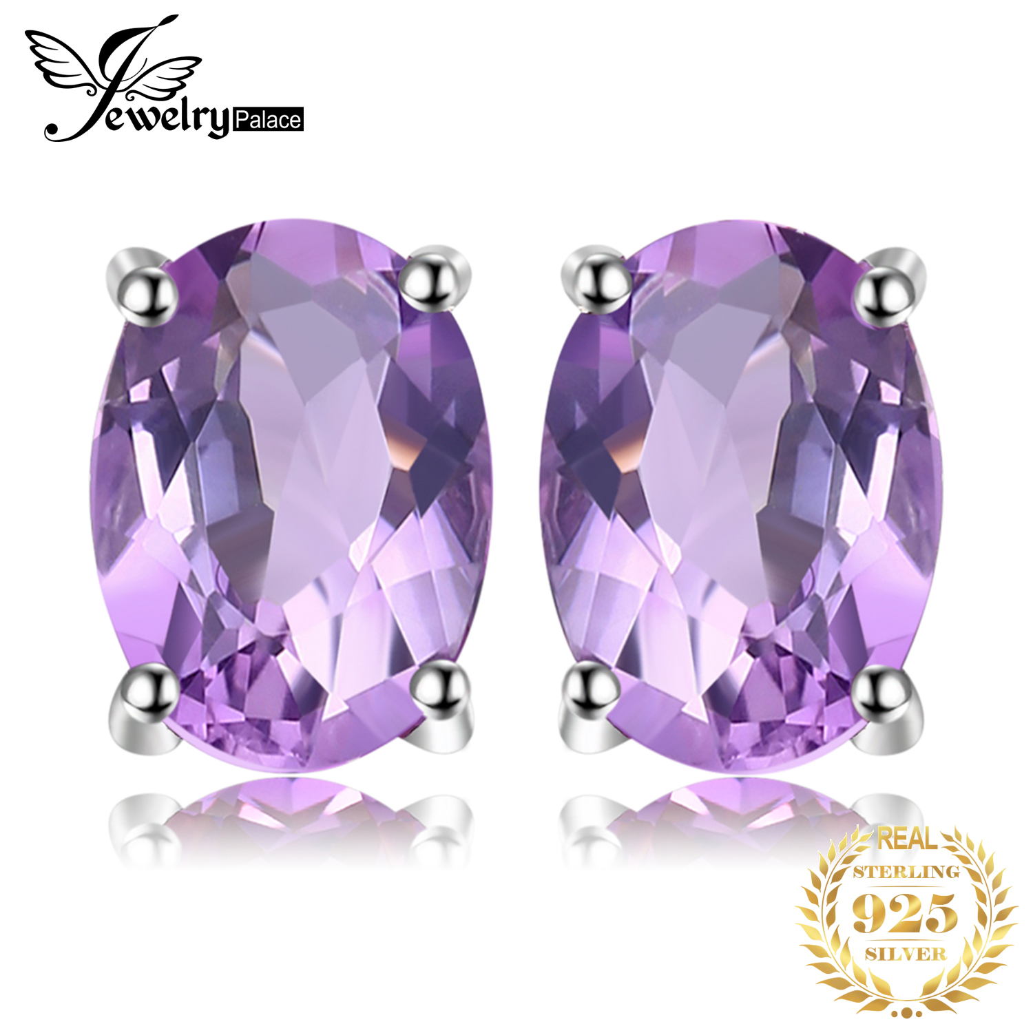 JewelryPalace 1.4ct Genuine Amethyst Stud Earrings 925 Sterling Silver Earrings For Women Korean Earings Fashion Jewelry 2020
