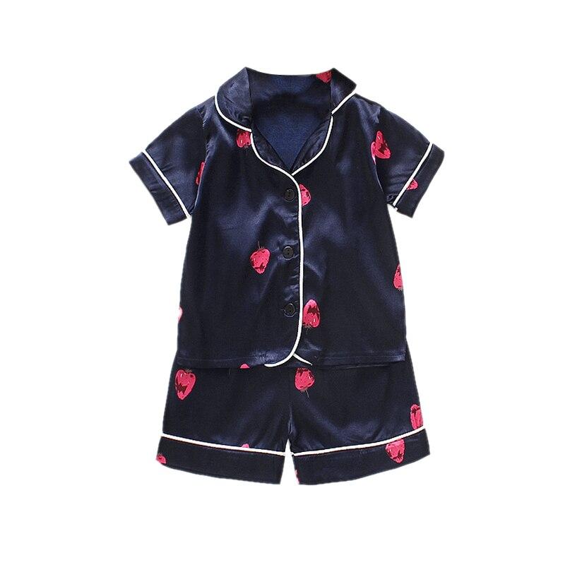 Kids Pajamas Set Silk Women Men Pajamas Boys Girls Bear Print Pyjamas Short Sleeve Blouse Tops+Shorts underwear & sleepwears 5