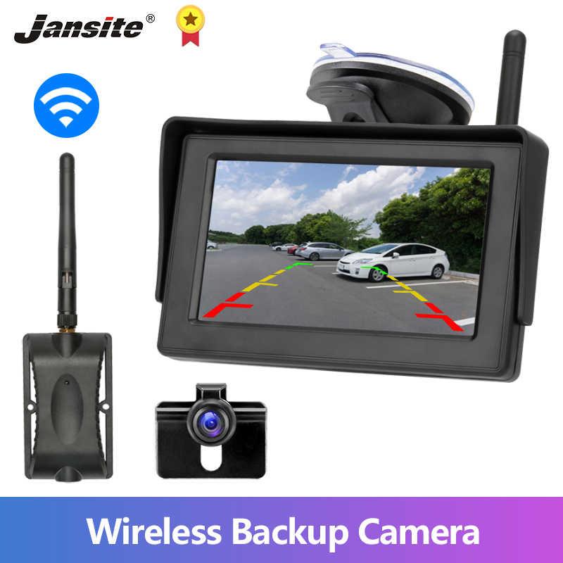 Jansite bezprzewodowa kamera cofania 4.3 cala monitor samochodowy TFT LCD kamera cofania bezprzewodowa z monitorem kamera tylna do samochodu