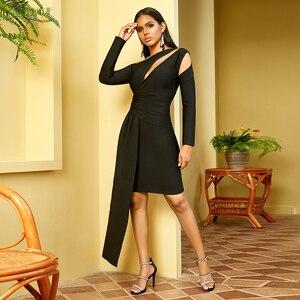 Image 3 - Adyce 2020 nouveau hiver à manches longues robe de pansement femmes Sexy évider une épaule Mini noir Club célébrité soirée robe de soirée