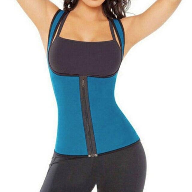 Fashion Womens Zipper Neoprene Body Shaper Slimming Waist Slim Belt Yoga Vest Underbust Ladies Sweat Enhancing Waist Training 1