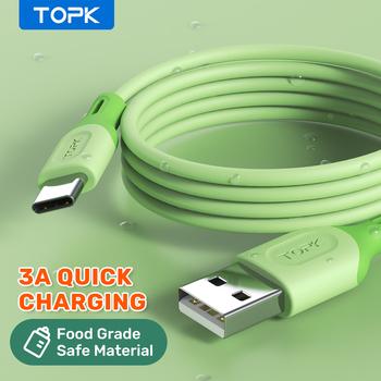TOPK Micro USB typ C kabel do XiaoMi czerwony mi uwaga 9 3A szybkie ładowanie płynnego silikonu telefon komórkowy kabel danych do Samsung Huawei tanie i dobre opinie Rohs TYPE-C CN (pochodzenie) USB A Liquid Silicone USB Cable Green Yellow Pink Blue 0 5M(1 64ft) 1M(3 28ft) 3A Fast Charging Charger USB Cable