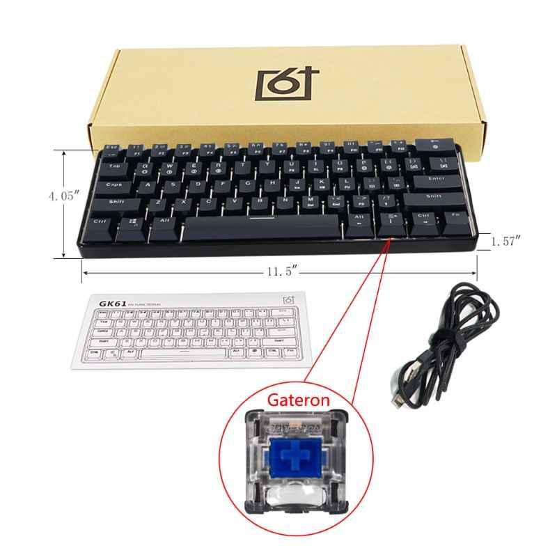 RGB LED עם תאורה אחורית קווית מכאני מקלדת, נייד קומפקטי עמיד למים מיני משחקי מקלדת 61 מפתחות Gateron Switchs למחשב Mac 4